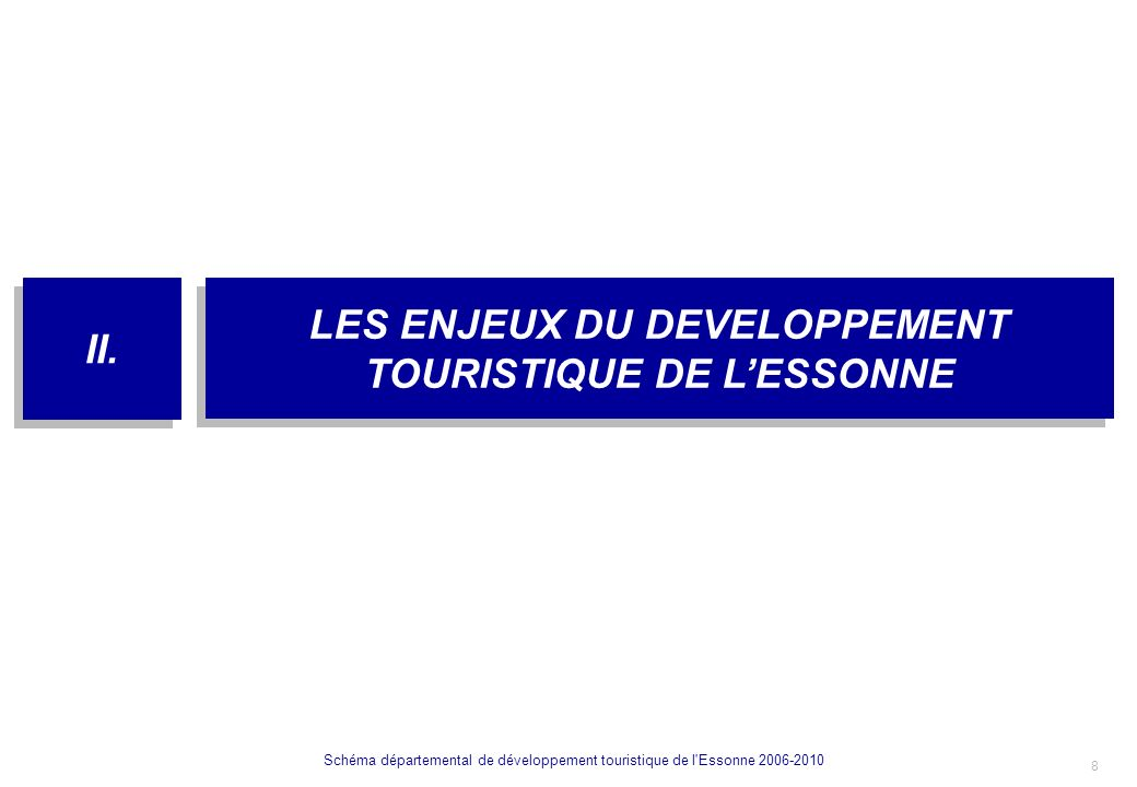 9 Schéma départemental de développement touristique de l Essonne 2006-2010 Stratégie de développement touristique de lEssonne : 3 axes de développement Enjeu n°2 : une dimension dimage Enjeu n°3 : Répondre aux attentes de loisirs de la population Enjeu n°1 : Développer léconomie touristique Enjeu n°4 : Sorganiser pour être plus efficace Faire de la thématique des jardins le moteur touristique de lEssonne Conforter le gisement touristique de lEssonne en le dynamisant Adapter la politique marketing et lorganisation 2.1.