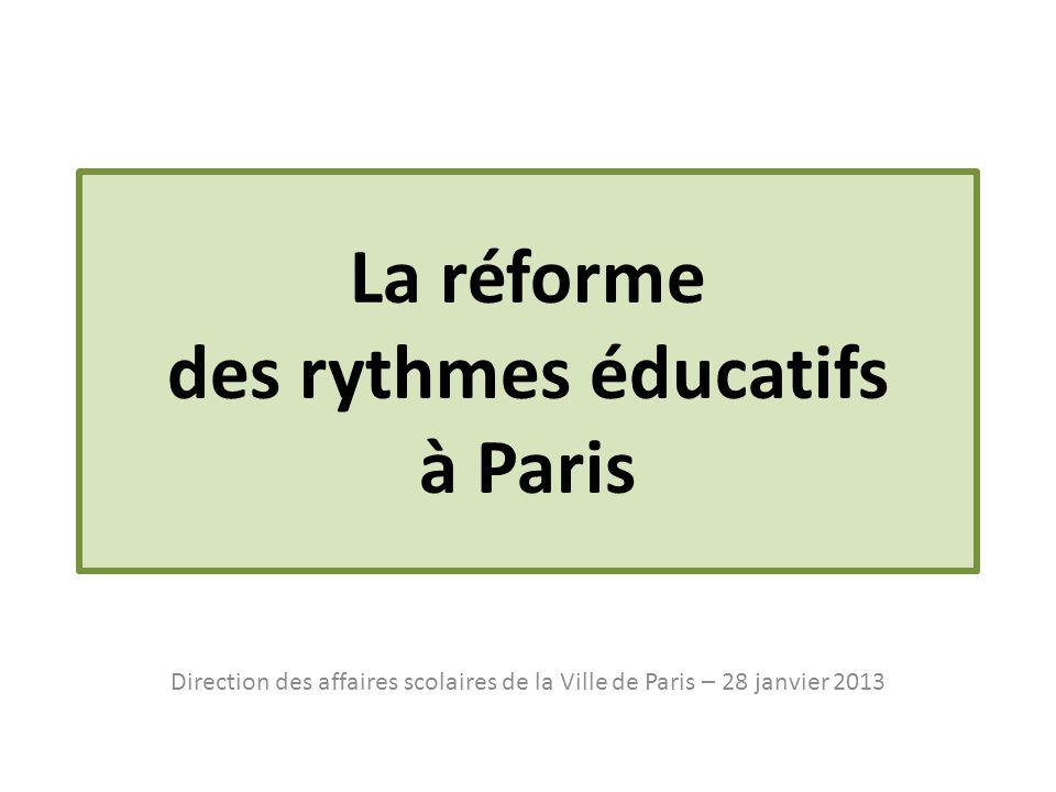 La réforme des rythmes éducatifs à Paris Direction des affaires scolaires de la Ville de Paris – 28 janvier 2013