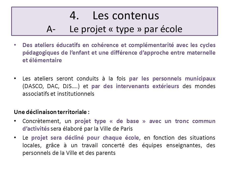 4.Les contenus A-Le projet « type » par école Des ateliers éducatifs en cohérence et complémentarité avec les cycles pédagogiques de lenfant et une di