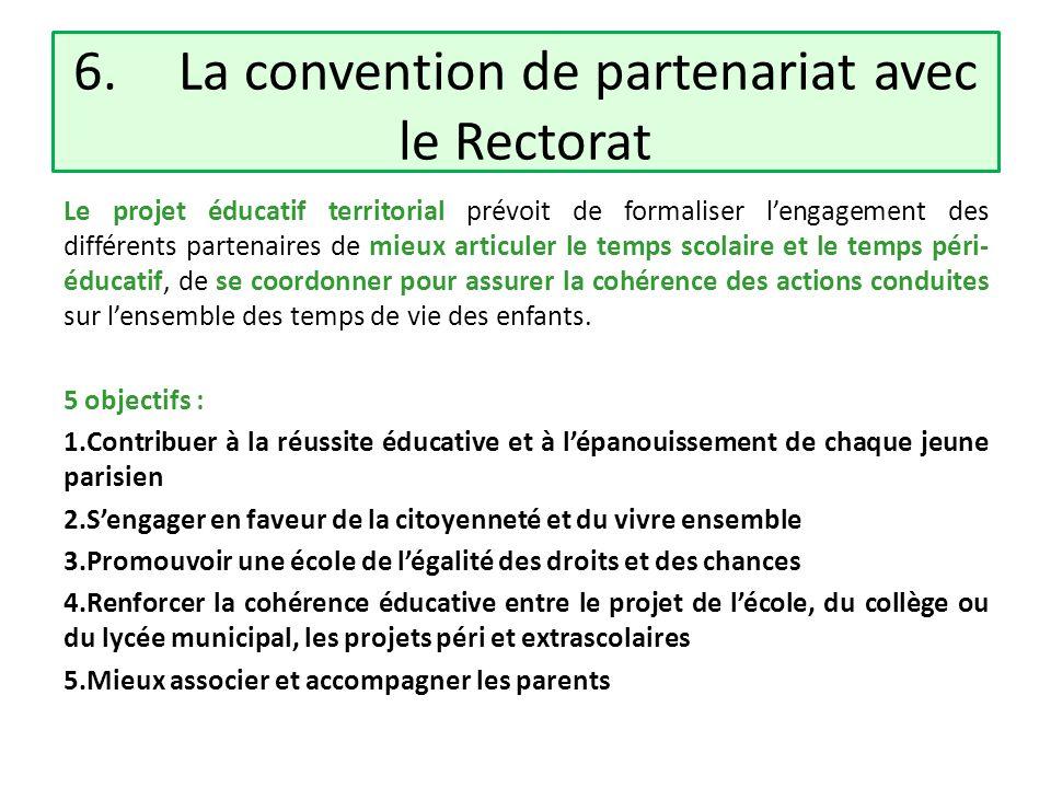 6.La convention de partenariat avec le Rectorat Le projet éducatif territorial prévoit de formaliser lengagement des différents partenaires de mieux a