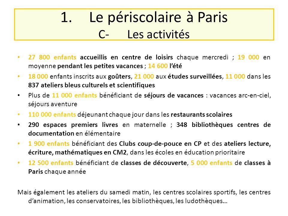 1.Le périscolaire à Paris C-Les activités 27 800 enfants accueillis en centre de loisirs chaque mercredi ; 19 000 en moyenne pendant les petites vacan
