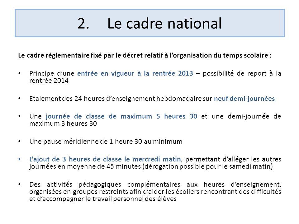 2.Le cadre national Le cadre réglementaire fixé par le décret relatif à lorganisation du temps scolaire : Principe dune entrée en vigueur à la rentrée