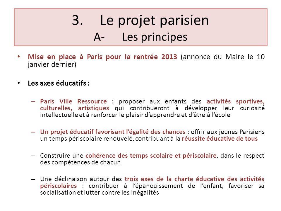 3.Le projet parisien B-Les objectifs Respecter les rythmes chrono-biologiques des enfants : élévation des performances au fil de la matinée scolaire, suivie d une chute après le déjeuner, puis à nouveau d une progression de la vigilance au cours de l après-midi Un temps de détente garantissant une articulation fluide entre les différents temps dactivités de lenfant durant la journée scolaire Un temps déveil et dapprofondissement, complémentaire des temps dapprentissages fondamentaux dispensés par lEducation nationale Des parcours évolutifs de la maternelle au CM2 Les besoins spécifiques des 5000 enfants porteurs de handicap scolarisés à Paris seront pris en compte