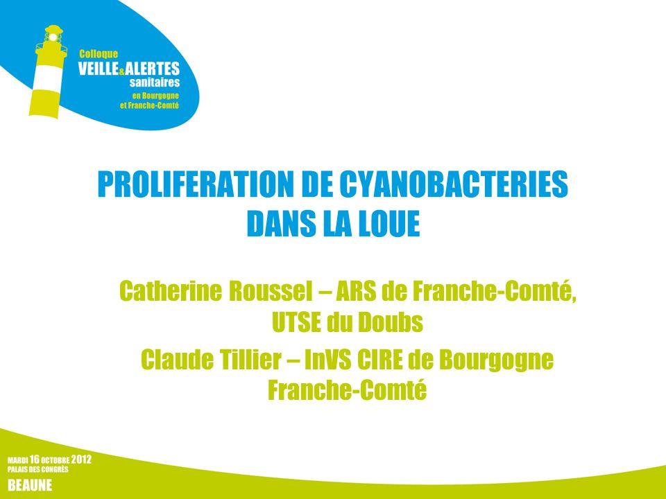 PROLIFERATION DE CYANOBACTERIES DANS LA LOUE Catherine Roussel – ARS de Franche-Comté, UTSE du Doubs Claude Tillier – InVS CIRE de Bourgogne Franche-C