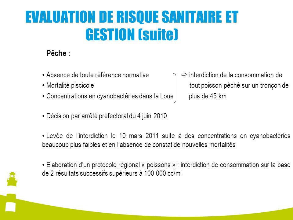 EVALUATION DE RISQUE SANITAIRE ET GESTION (suite) Pêche : Absence de toute référence normative interdiction de la consommation de Mortalité piscicole