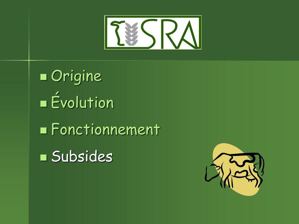 Origine Origine Évolution Évolution Fonctionnement Fonctionnement Subsides Subsides