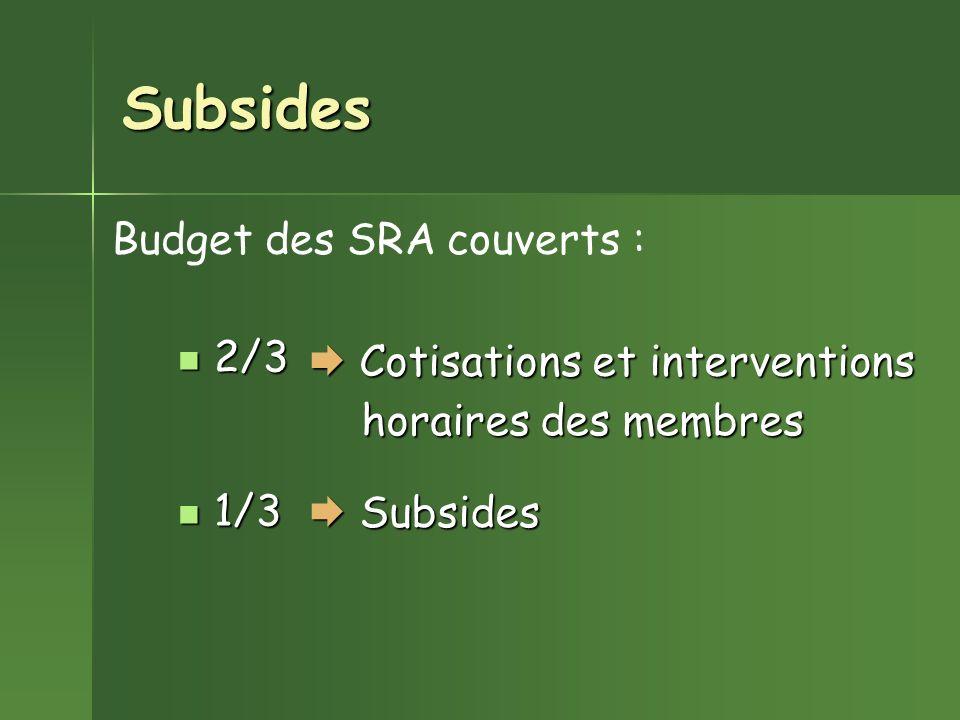 Subsides 2/3 2/3 1/3 1/3 Cotisations et interventions Cotisations et interventions Budget des SRA couverts : horaires des membres Subsides Subsides