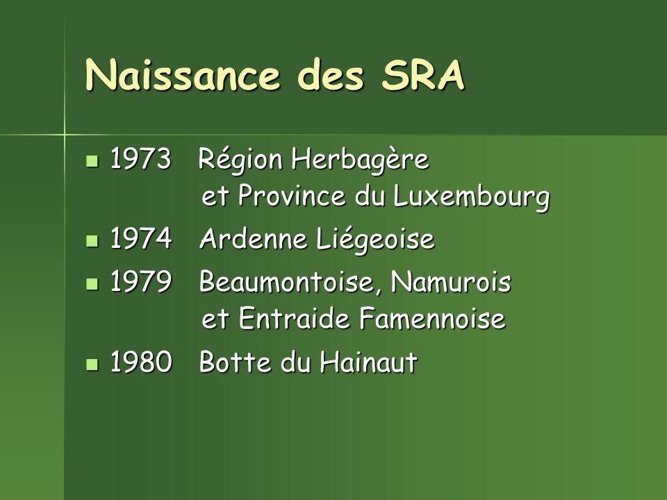 Naissance des SRA 1973 Région Herbagère 1973 Région Herbagère et Province du Luxembourg et Province du Luxembourg 1974 Ardenne Liégeoise 1974 Ardenne