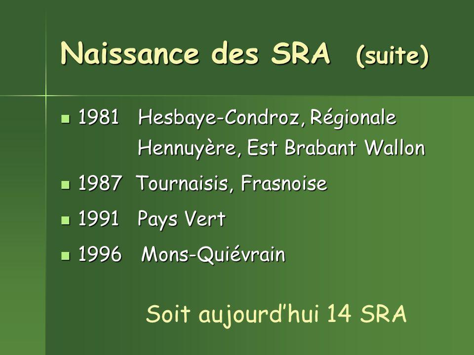Naissance des SRA (suite) 1981 Hesbaye-Condroz, Régionale 1981 Hesbaye-Condroz, Régionale Hennuyère, Est Brabant Wallon Hennuyère, Est Brabant Wallon