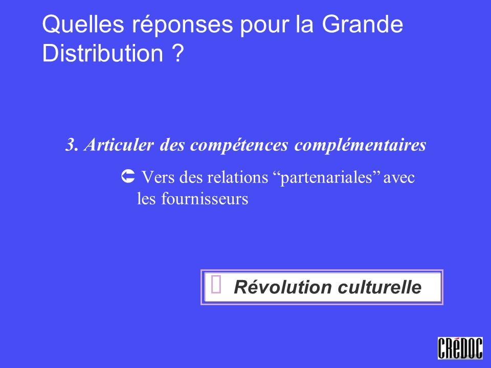 Quelles réponses pour la Grande Distribution ? 3. Articuler des compétences complémentaires Vers des relations partenariales avec les fournisseurs Rév