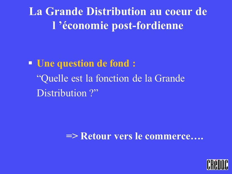 La Grande Distribution au coeur de l économie post-fordienne §Une question de fond : Quelle est la fonction de la Grande Distribution ? => Retour vers