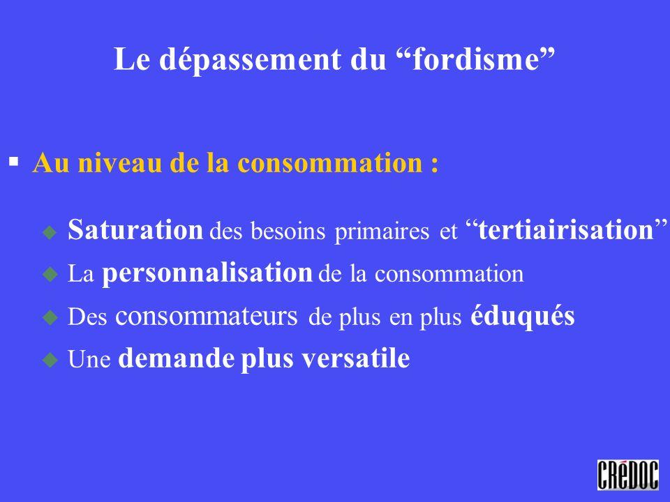 Le dépassement du fordisme §Au niveau de la consommation : Saturation des besoins primaires ettertiairisation La personnalisation de la consommation D