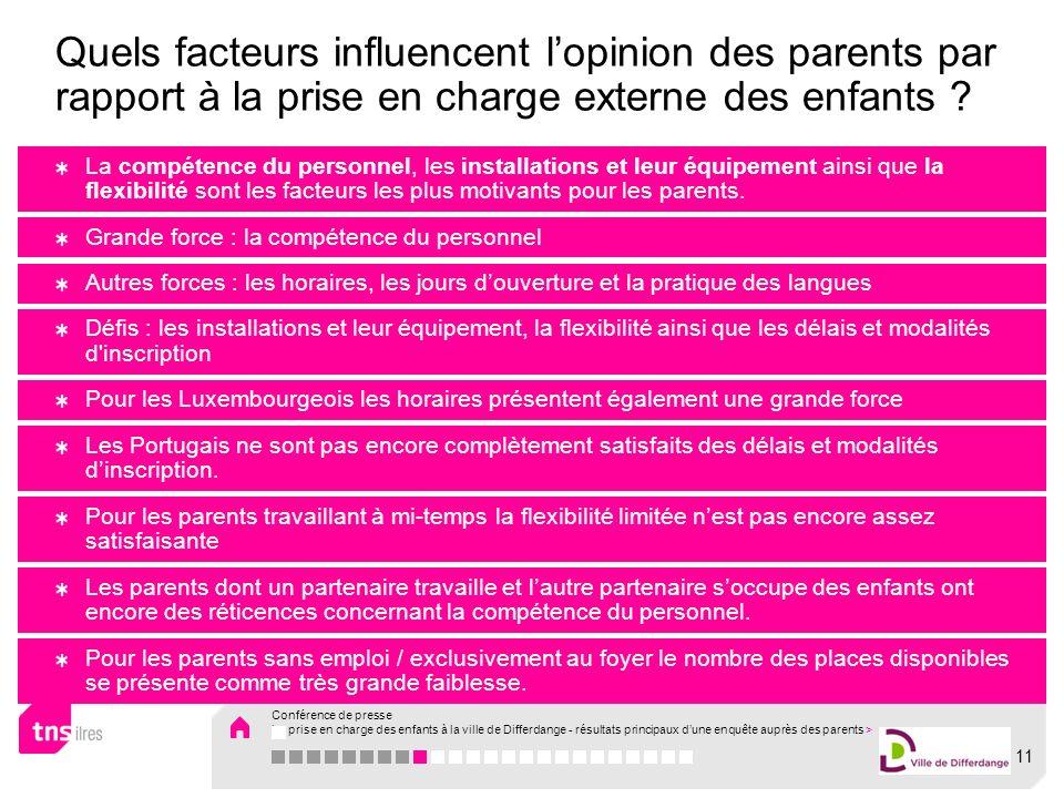 La compétence du personnel, les installations et leur équipement ainsi que la flexibilité sont les facteurs les plus motivants pour les parents. Grand