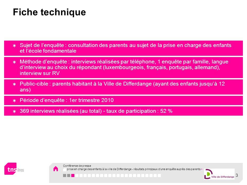 Conférence de presse La prise en charge des enfants à la ville de Differdange - principaux résultats dun sondage auprès des parents Résultats de la phase qualitative du projet
