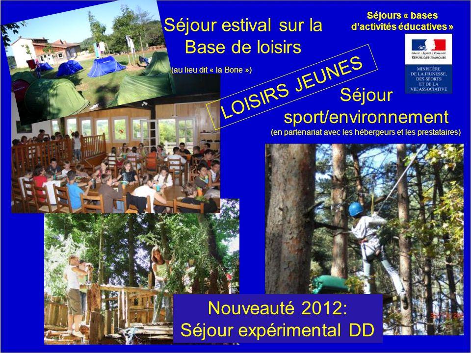 LOISIRS JEUNES Séjour sport/environnement (en partenariat avec les hébergeurs et les prestataires) Séjour estival sur la Base de loisirs (au lieu dit « la Borie ») Séjours « bases dactivités éducatives » Nouveauté 2012: Séjour expérimental DD