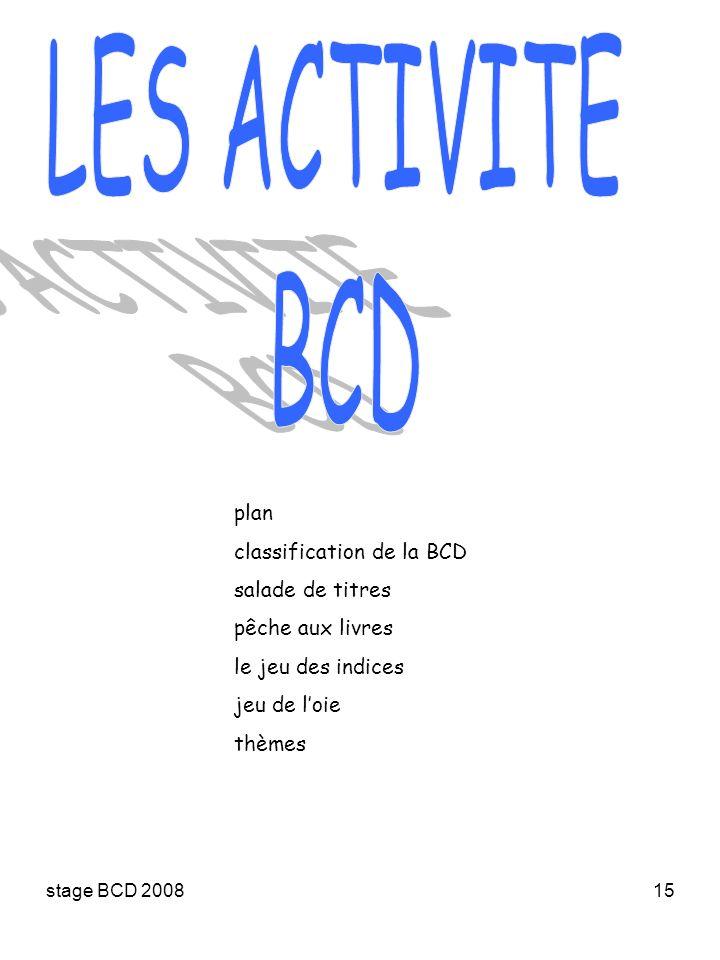 stage BCD 200815 plan classification de la BCD salade de titres pêche aux livres le jeu des indices jeu de loie thèmes