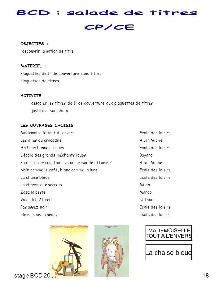 stage BCD 200818 OBJECTIFS : découvrir la notion de titre MATERIEL : Plaquettes de 1° de couverture sans titres plaquettes de titres ACTIVITE · associ