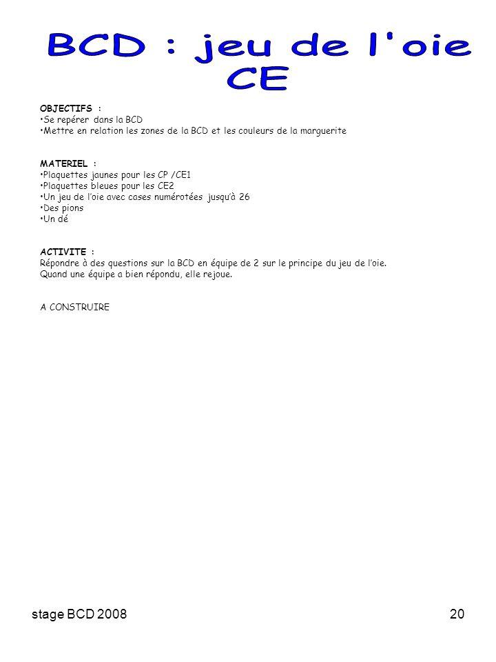 stage BCD 200820 OBJECTIFS : Se repérer dans la BCD Mettre en relation les zones de la BCD et les couleurs de la marguerite MATERIEL : Plaquettes jaun