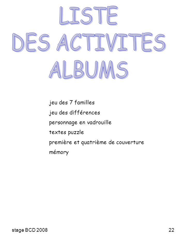 stage BCD 200822 jeu des 7 familles jeu des différences personnage en vadrouille textes puzzle première et quatrième de couverture mémory