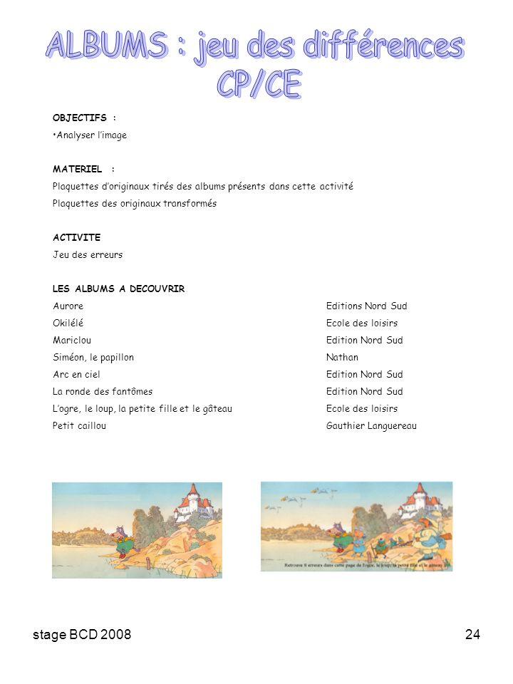 stage BCD 200824 OBJECTIFS : Analyser limage MATERIEL : Plaquettes doriginaux tirés des albums présents dans cette activité Plaquettes des originaux t