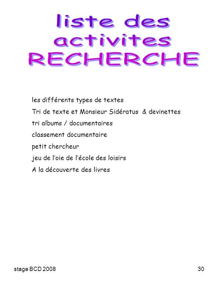 stage BCD 200830 les différents types de textes Tri de texte et Monsieur Sidératus & devinettes tri albums / documentaires classement documentaire pet