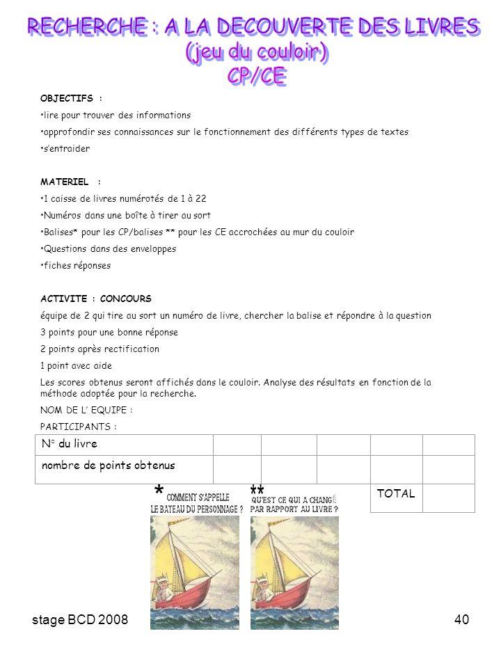 stage BCD 200840 OBJECTIFS : lire pour trouver des informations approfondir ses connaissances sur le fonctionnement des différents types de textes sen