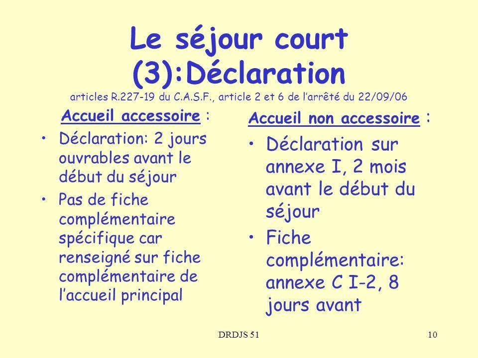 DRDJS 5110 Accueil accessoire : Déclaration: 2 jours ouvrables avant le début du séjour Pas de fiche complémentaire spécifique car renseigné sur fiche