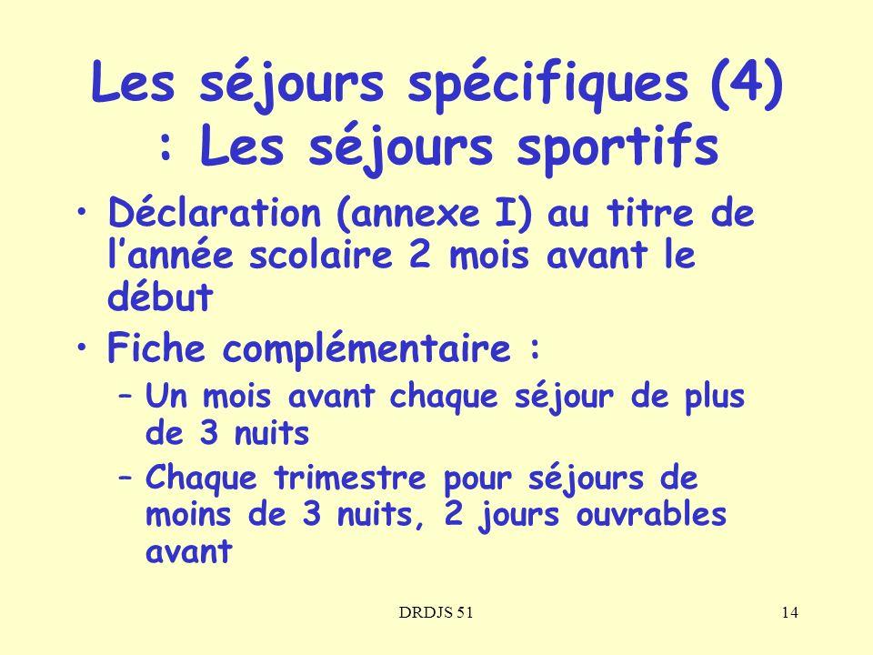 DRDJS 5114 Les séjours spécifiques (4) : Les séjours sportifs Déclaration (annexe I) au titre de lannée scolaire 2 mois avant le début Fiche complémen
