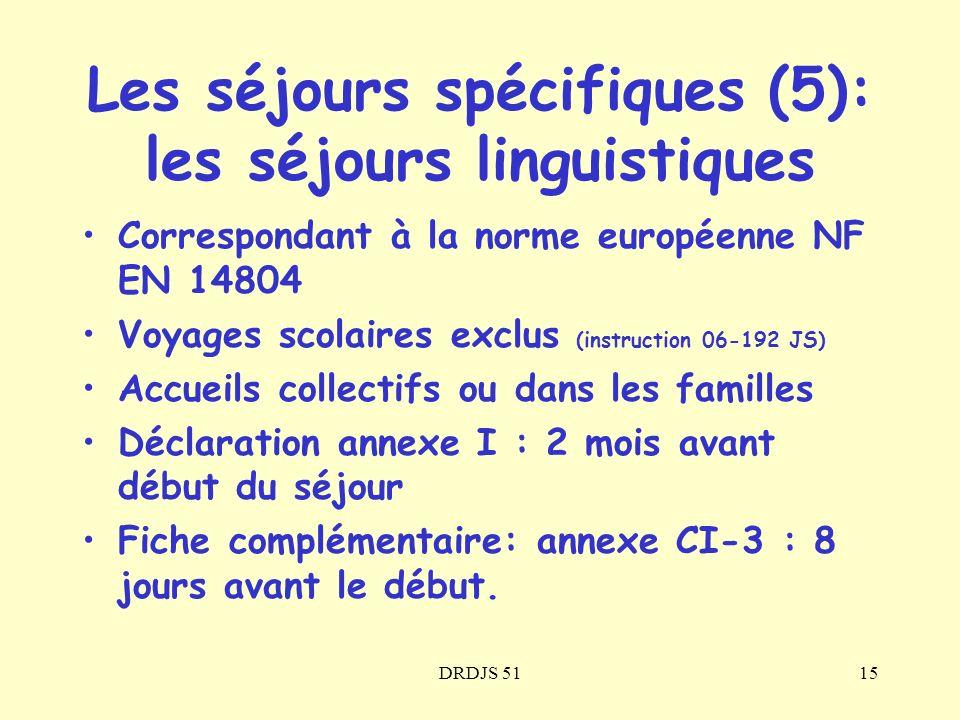 DRDJS 5115 Correspondant à la norme européenne NF EN 14804 Voyages scolaires exclus (instruction 06-192 JS) Accueils collectifs ou dans les familles D