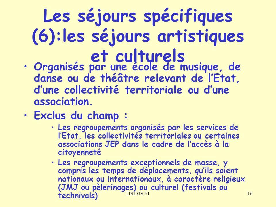 DRDJS 5116 Organisés par une école de musique, de danse ou de théâtre relevant de lEtat, dune collectivité territoriale ou dune association. Exclus du