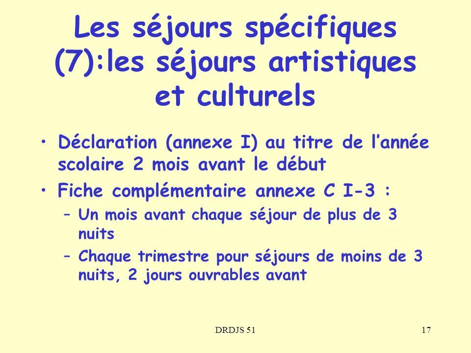 DRDJS 5117 Les séjours spécifiques (7):les séjours artistiques et culturels Déclaration (annexe I) au titre de lannée scolaire 2 mois avant le début F