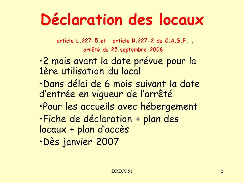 DRDJS 512 Déclaration des locaux article L.227-5 et article R.227-2 du C.A.S.F., arrêté du 25 septembre 2006 2 mois avant la date prévue pour la 1ère