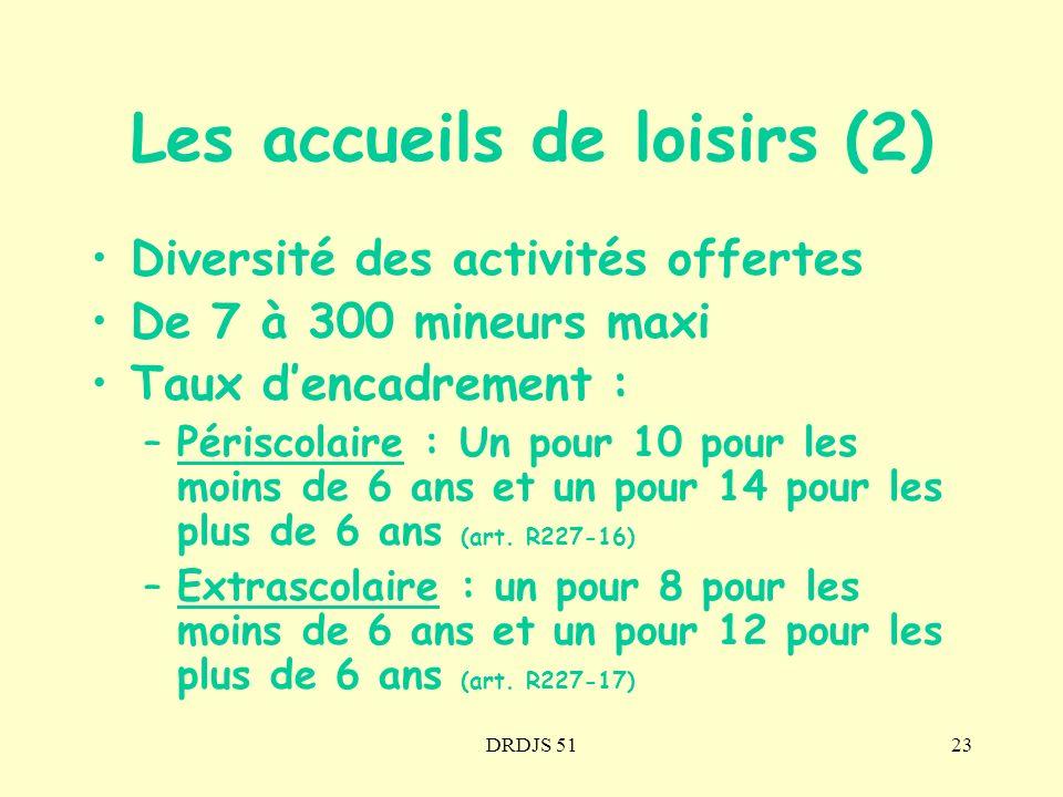 DRDJS 5123 Les accueils de loisirs (2) Diversité des activités offertes De 7 à 300 mineurs maxi Taux dencadrement : –Périscolaire : Un pour 10 pour le