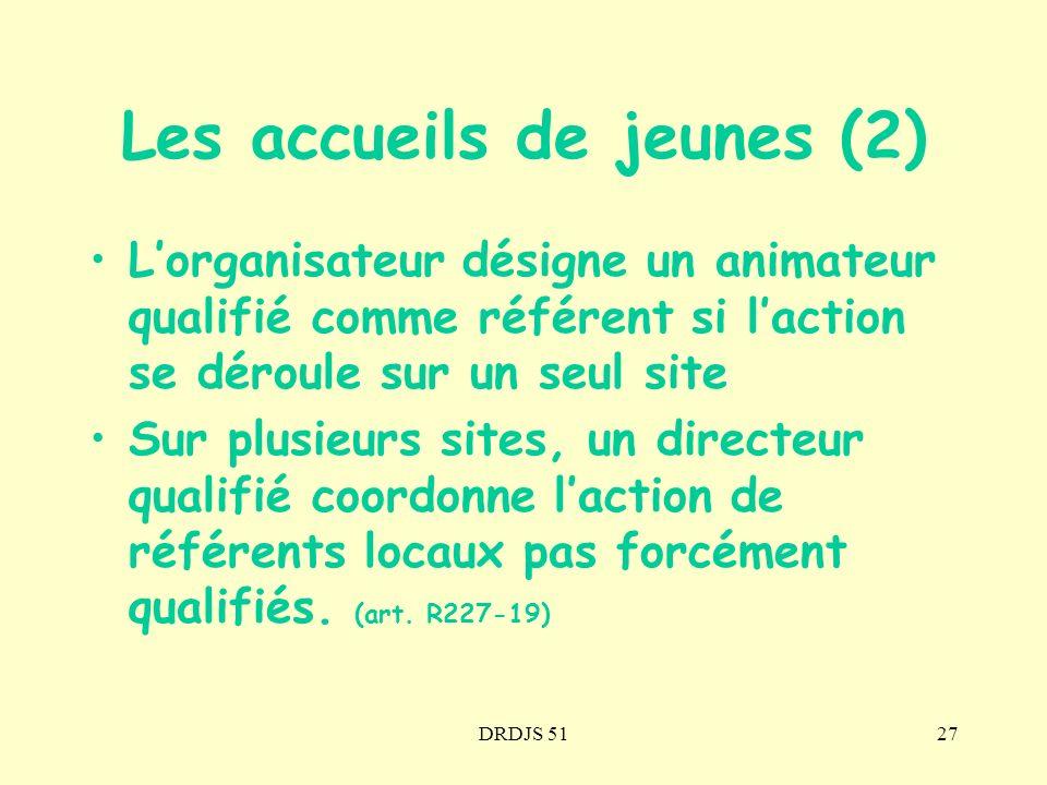 DRDJS 5127 Lorganisateur désigne un animateur qualifié comme référent si laction se déroule sur un seul site Sur plusieurs sites, un directeur qualifi
