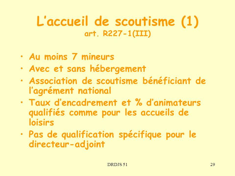 DRDJS 5129 Laccueil de scoutisme (1) art. R227-1(III) Au moins 7 mineurs Avec et sans hébergement Association de scoutisme bénéficiant de lagrément na