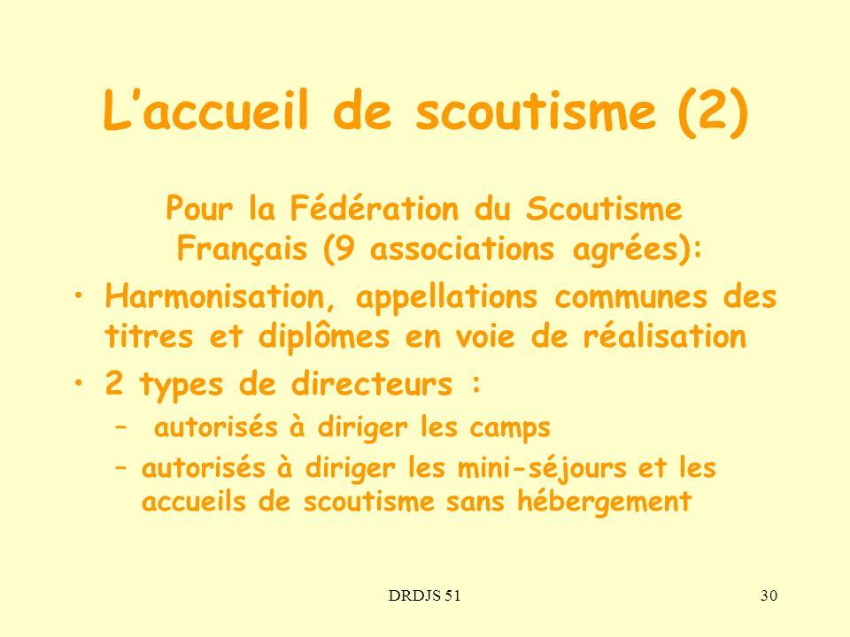 DRDJS 5130 Pour la Fédération du Scoutisme Français (9 associations agrées): Harmonisation, appellations communes des titres et diplômes en voie de ré