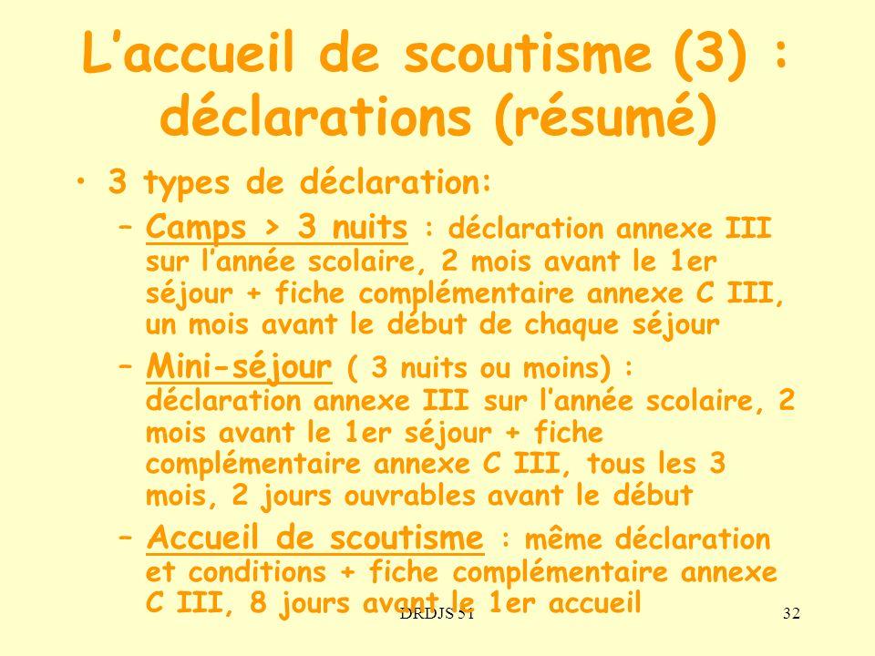 DRDJS 5132 Laccueil de scoutisme (3) : déclarations (résumé) 3 types de déclaration: –Camps > 3 nuits : déclaration annexe III sur lannée scolaire, 2