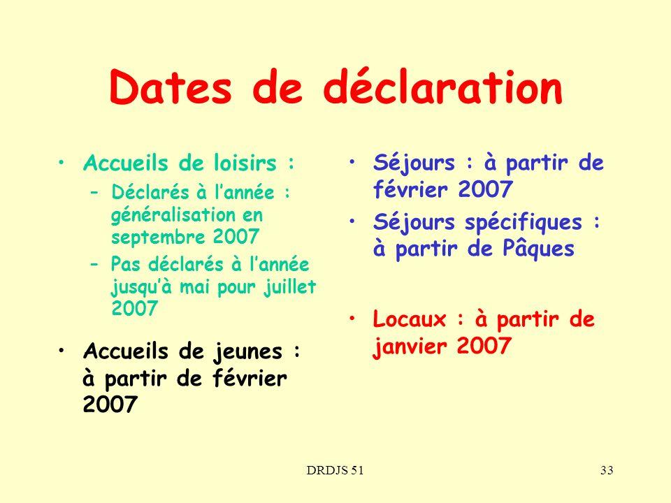 DRDJS 5133 Dates de déclaration Accueils de loisirs : –Déclarés à lannée : généralisation en septembre 2007 –Pas déclarés à lannée jusquà mai pour jui