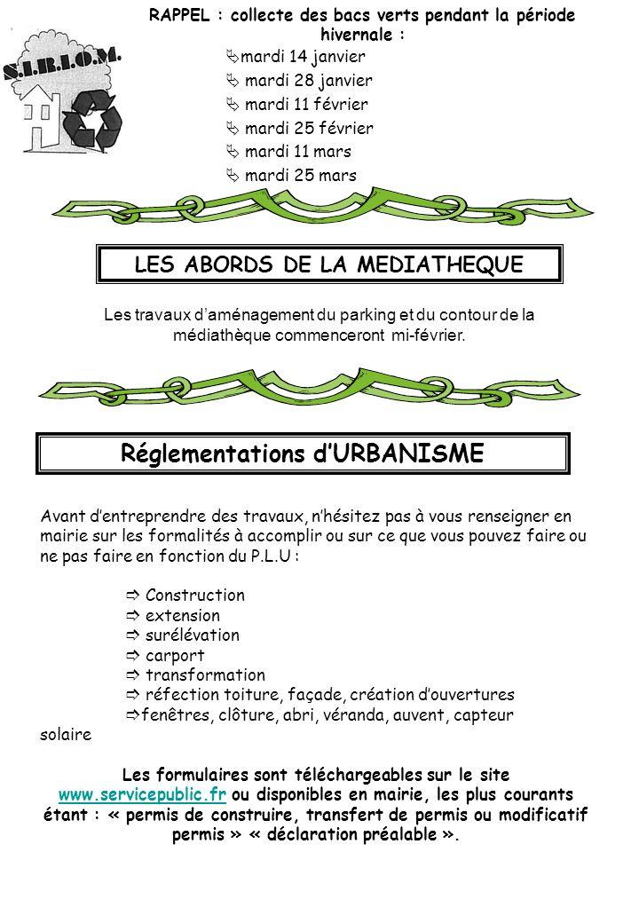 RAPPEL : collecte des bacs verts pendant la période hivernale : mardi 14 janvier mardi 28 janvier mardi 11 février mardi 25 février mardi 11 mars mard