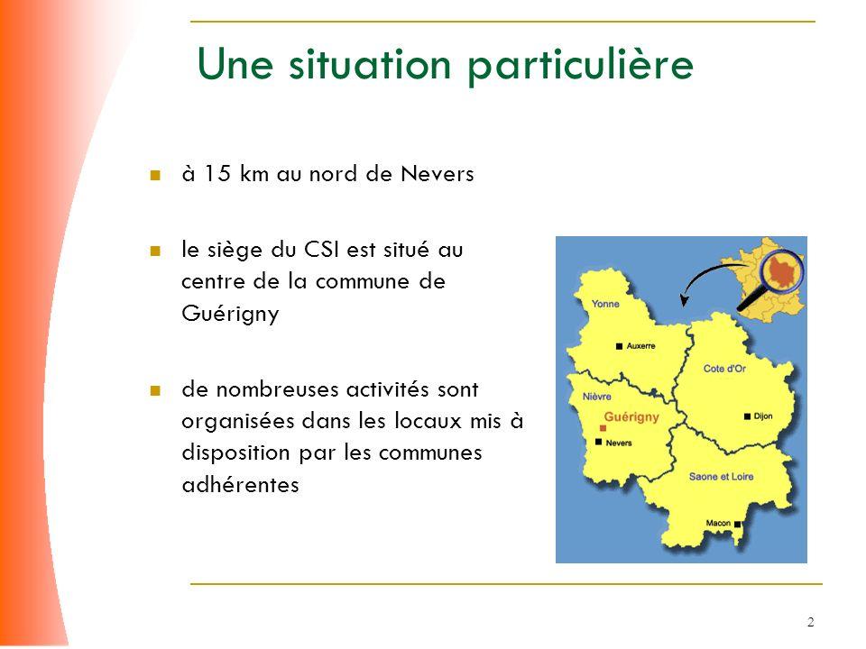 2 à 15 km au nord de Nevers le siège du CSI est situé au centre de la commune de Guérigny de nombreuses activités sont organisées dans les locaux mis