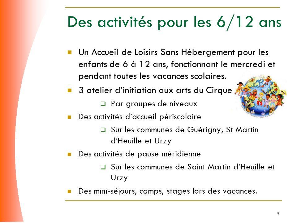 5 Des activités pour les 6/12 ans Un Accueil de Loisirs Sans Hébergement pour les enfants de 6 à 12 ans, fonctionnant le mercredi et pendant toutes le