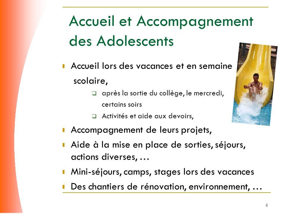 6 Accueil et Accompagnement des Adolescents Accueil lors des vacances et en semaine scolaire, après la sortie du collège, le mercredi, certains soirs