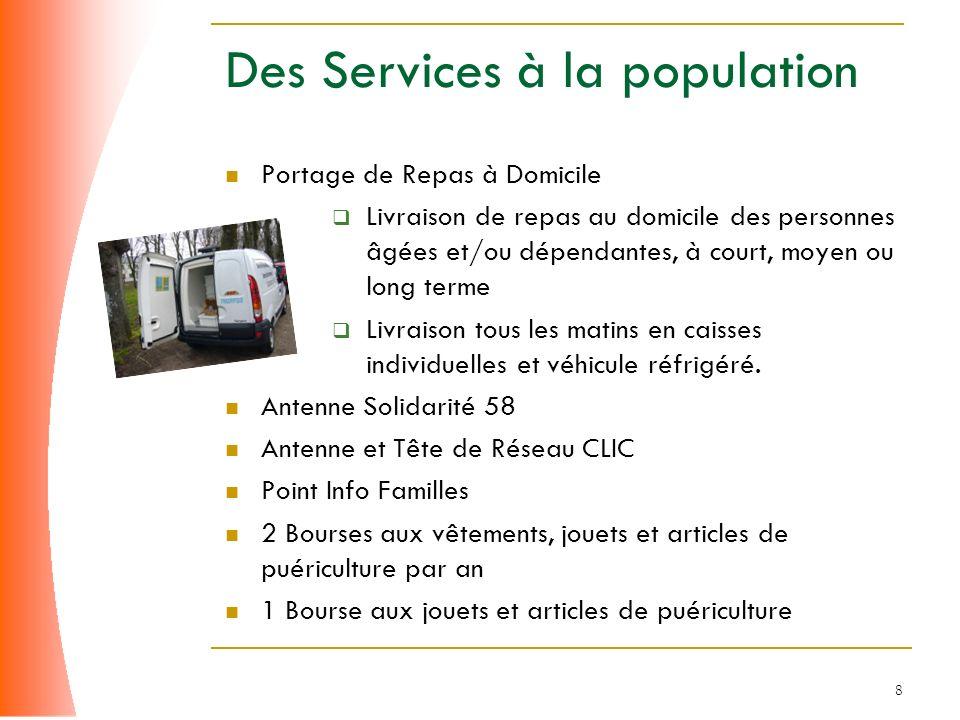8 Des Services à la population Portage de Repas à Domicile Livraison de repas au domicile des personnes âgées et/ou dépendantes, à court, moyen ou lon