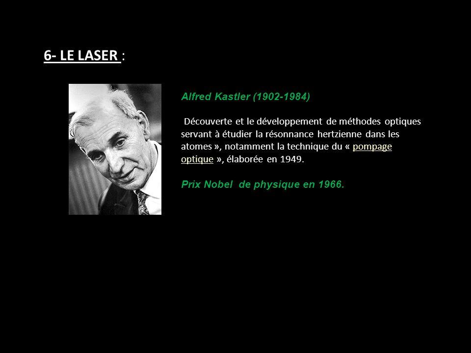 6- LE LASER : Alfred Kastler (1902-1984) Découverte et le développement de méthodes optiques servant à étudier la résonnance hertzienne dans les atome