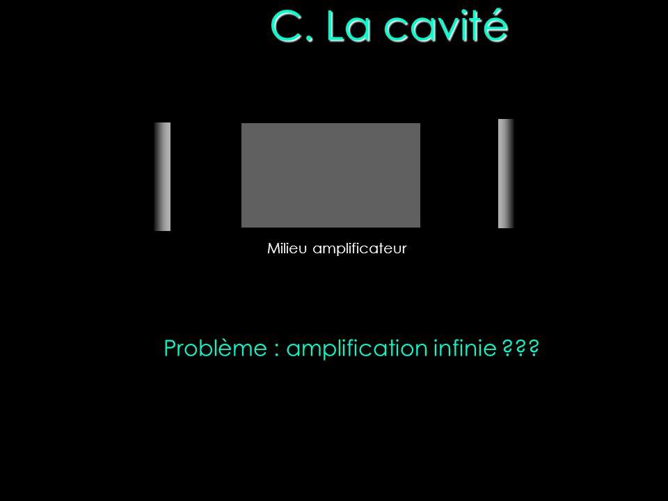 C. La cavité Milieu amplificateur Problème : amplification infinie ???