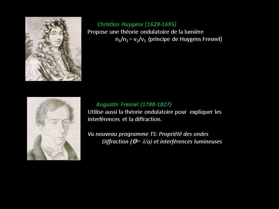 Christian Huygens (1629-1695) Propose une théorie ondulatoire de la lumière n 1 /n 2 = v 2 /v 1 (principe de Huygens Fresnel) Augustin Fresnel (1788-1