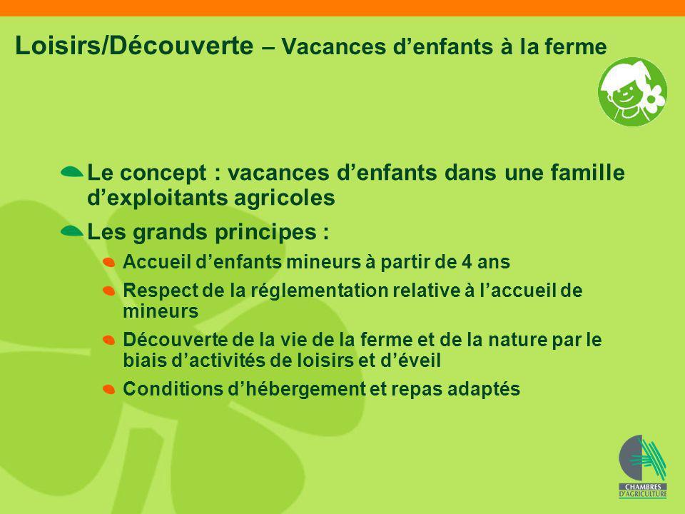 Loisirs/Découverte – Vacances denfants à la ferme Le concept : vacances denfants dans une famille dexploitants agricoles Les grands principes : Accuei