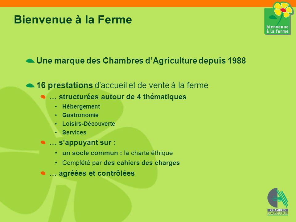 Les 16 formules Bienvenue à la ferme Normandie Gastronomie Ferme auberge : 48514 Goûter/Casse-croûte à la ferme : 17516 Produits de la ferme : 3029221 Traiteur *0 Apéritif fermier chez le vigneron *0 Sac pique-nique Bienvenue à la ferme *0 Hébergement : Chambre dhôtes à la ferme : 73080 Gîte à la ferme : 92774 Camping à la ferme : 41520 Loisirs/Découverte : Vacances denfants à la ferme : 3911 Ferme de découverte : 53950 Ferme pédagogique : 34247 Ferme équestre : 21913+2 haltes équestres** Chasse à la ferme : 130 Services : Salle daccueil à la ferme *6 Accueil de camping-cars à la ferme *8 * Nouveaux produits, en cours de développement ** un box ou un paddock peuvent être mis à disposition pour votre cheval lors dune halte ou dun séjour en Normandie.