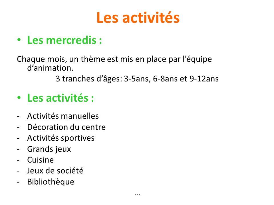 Les activités Les mercredis : Chaque mois, un thème est mis en place par léquipe danimation. 3 tranches dâges: 3-5ans, 6-8ans et 9-12ans Les activités