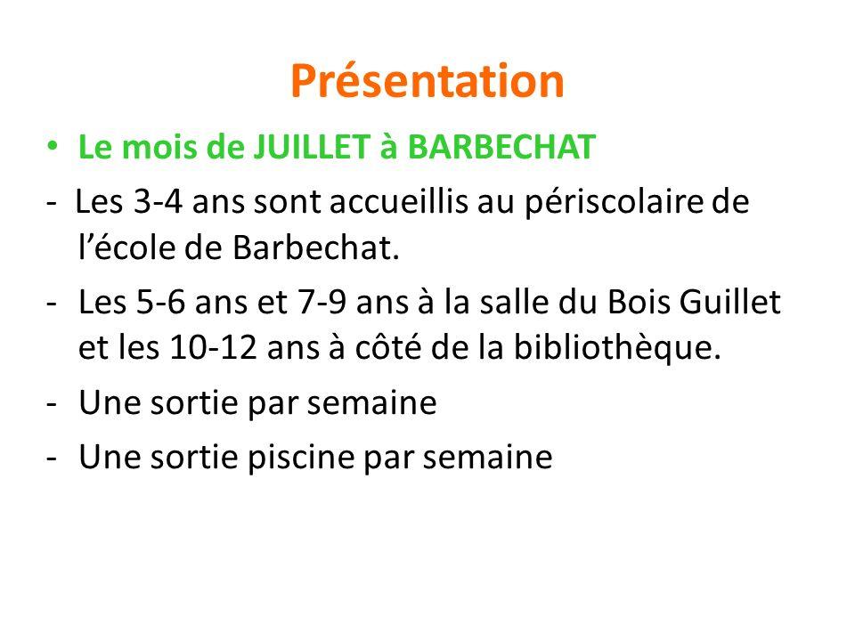 Présentation Le mois de JUILLET à BARBECHAT - Les 3-4 ans sont accueillis au périscolaire de lécole de Barbechat. -Les 5-6 ans et 7-9 ans à la salle d